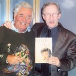 "Peter Falk with Larry Davidson after an interview for ""Davidson and Company"""