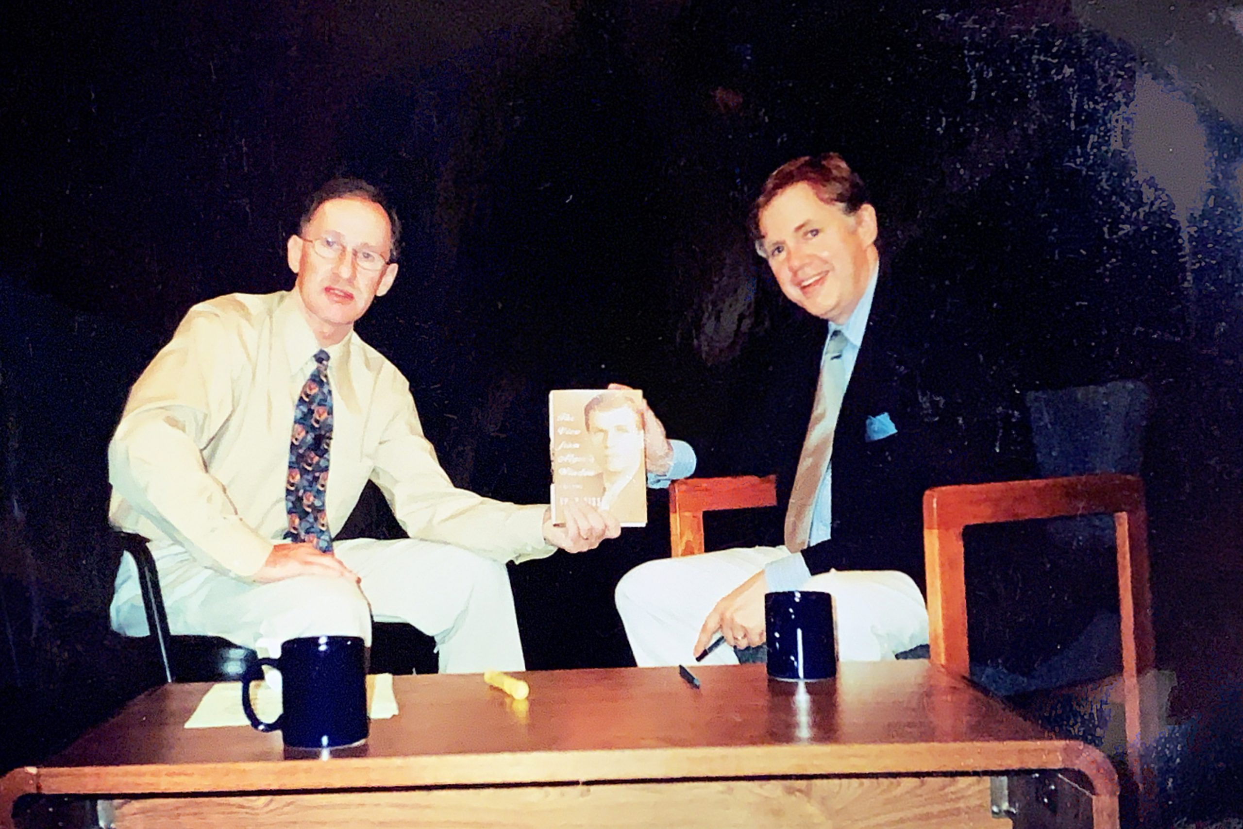 Thomas Maier, acclaimed author and Newsday investigative journalist, with Larry Davidson at Cablevision Studios.